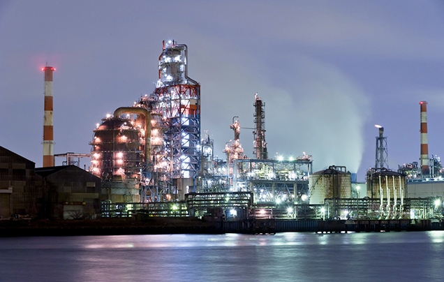 Image of Night view of the factory zone